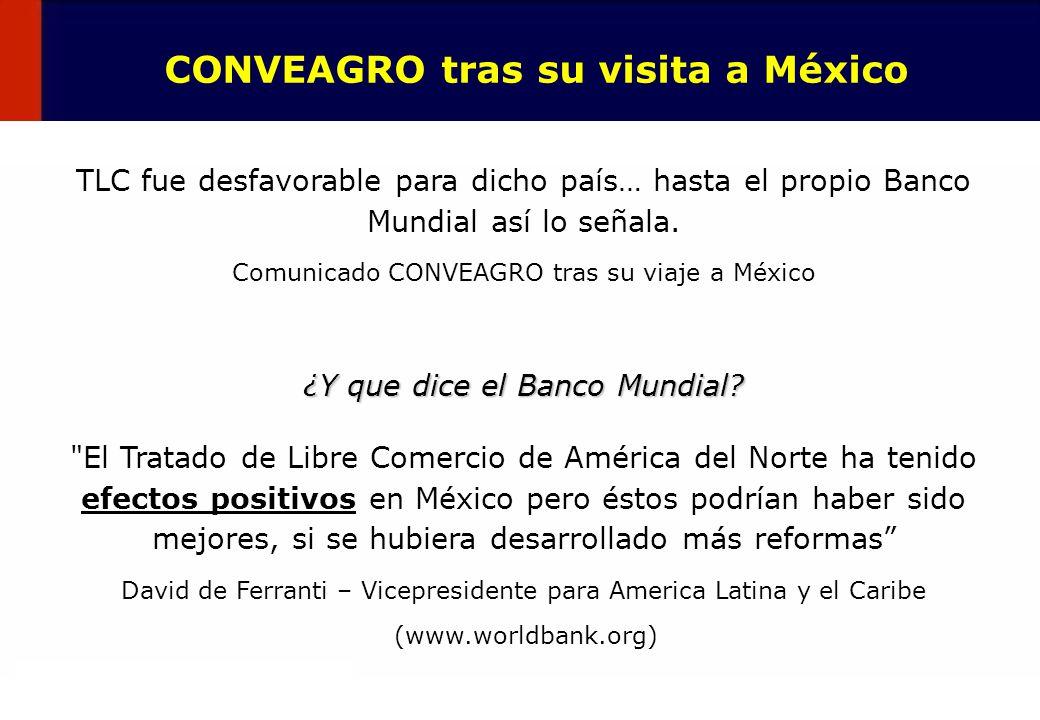 25 CONVEAGRO tras su visita a México TLC fue desfavorable para dicho país… hasta el propio Banco Mundial así lo señala. Comunicado CONVEAGRO tras su v
