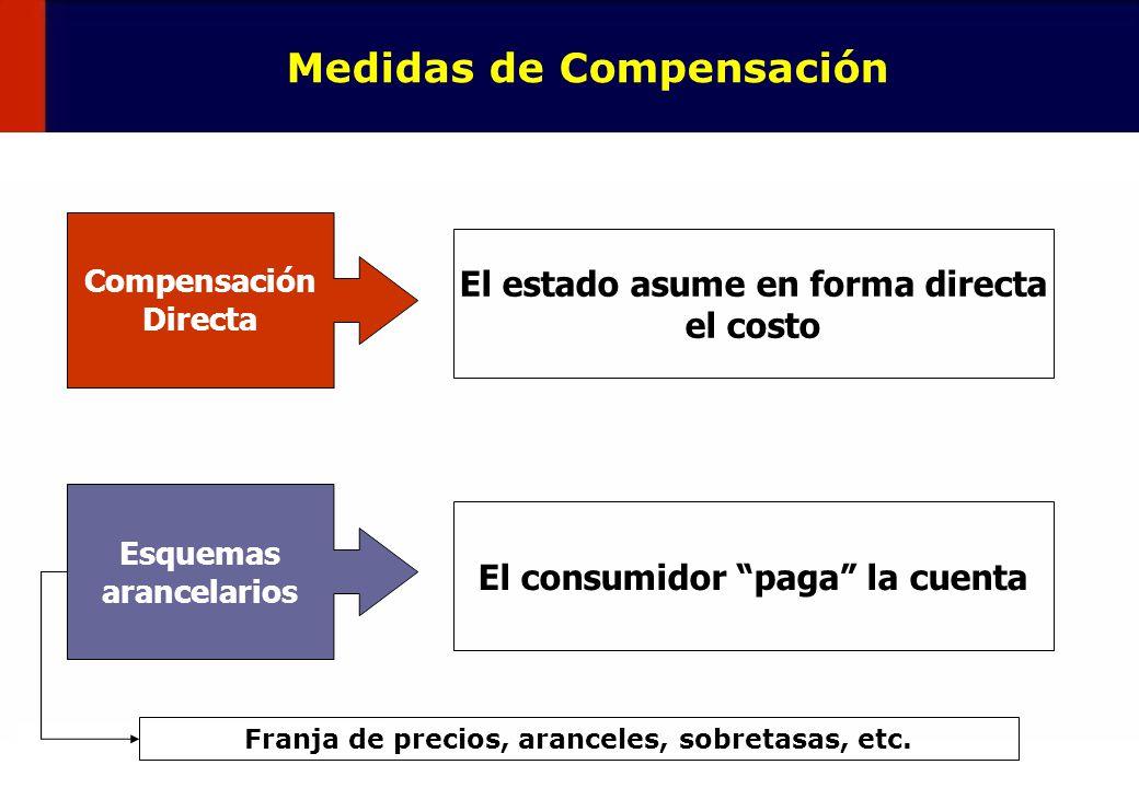 30 Medidas de Compensación Compensación Directa El estado asume en forma directa el costo Esquemas arancelarios El consumidor paga la cuenta Franja de