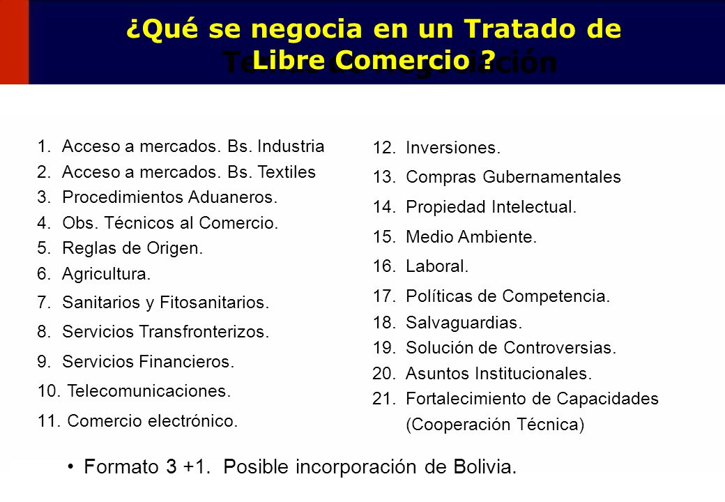4 Formato 3 +1. Posible incorporación de Bolivia. 1.Acceso a mercados. Bs. Industria 2.Acceso a mercados. Bs. Textiles 3.Procedimientos Aduaneros. 4.O