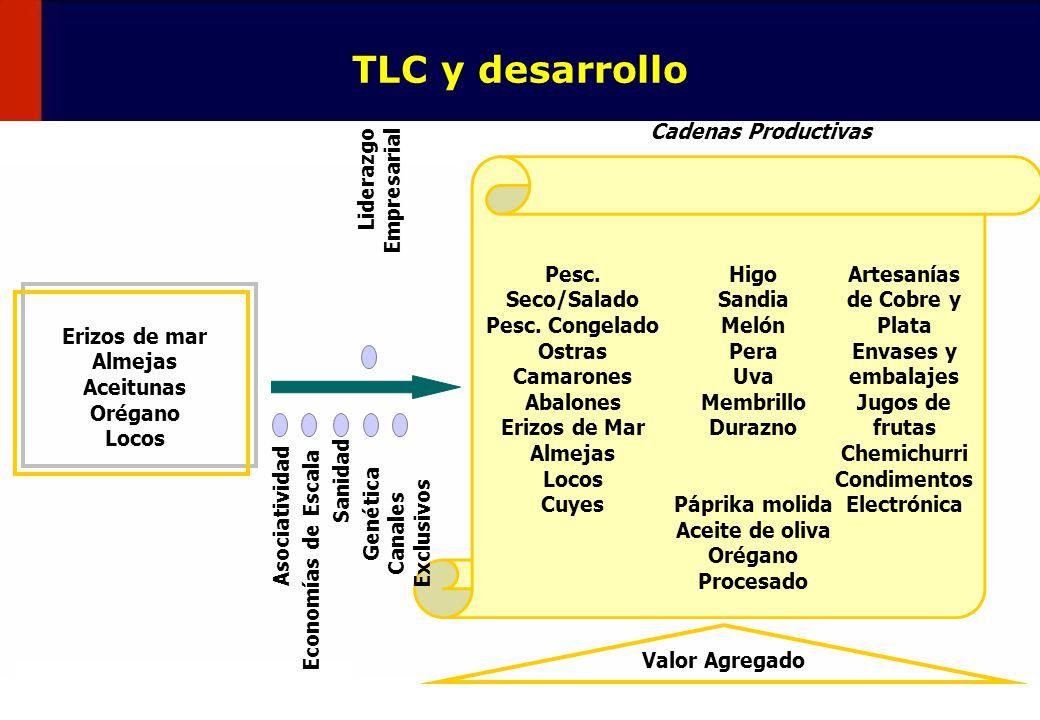 52 TLC y desarrollo Erizos de mar Almejas Aceitunas Orégano Locos Cadenas Productivas Pesc. Seco/Salado Pesc. Congelado Ostras Camarones Abalones Eriz