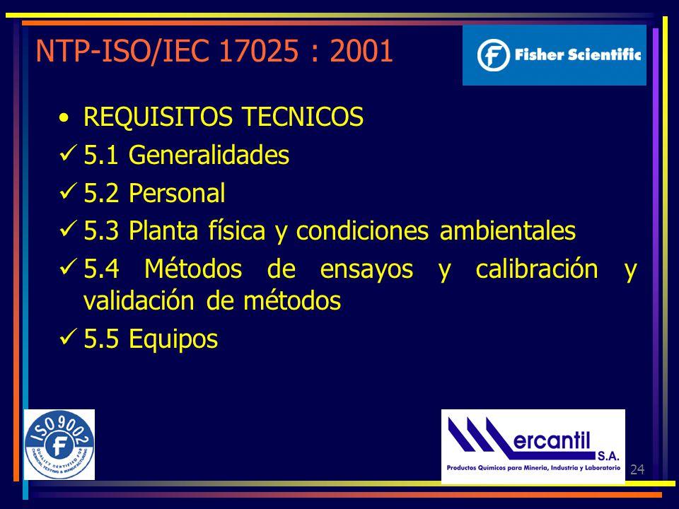 24 NTP-ISO/IEC 17025 : 2001 REQUISITOS TECNICOS 5.1 Generalidades 5.2 Personal 5.3 Planta física y condiciones ambientales 5.4 Métodos de ensayos y ca