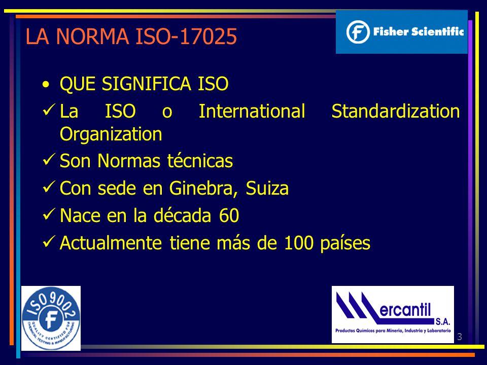 3 LA NORMA ISO-17025 QUE SIGNIFICA ISO La ISO o International Standardization Organization Son Normas técnicas Con sede en Ginebra, Suiza Nace en la década 60 Actualmente tiene más de 100 países
