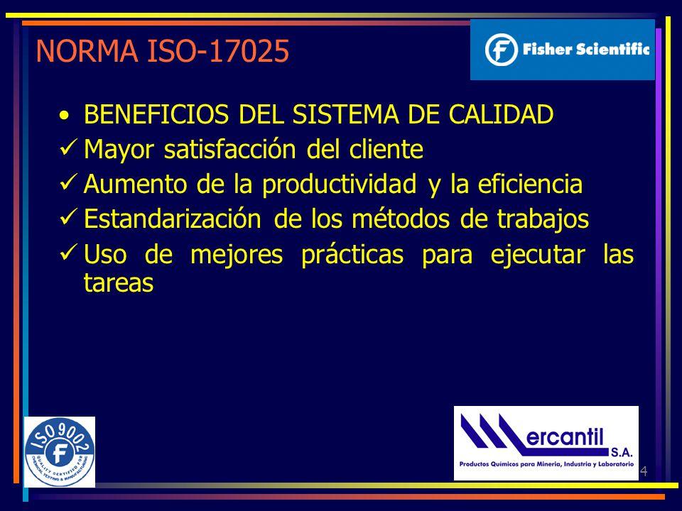 4 NORMA ISO-17025 BENEFICIOS DEL SISTEMA DE CALIDAD Mayor satisfacción del cliente Aumento de la productividad y la eficiencia Estandarización de los métodos de trabajos Uso de mejores prácticas para ejecutar las tareas
