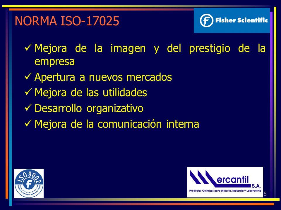 5 NORMA ISO-17025 Mejora de la imagen y del prestigio de la empresa Apertura a nuevos mercados Mejora de las utilidades Desarrollo organizativo Mejora