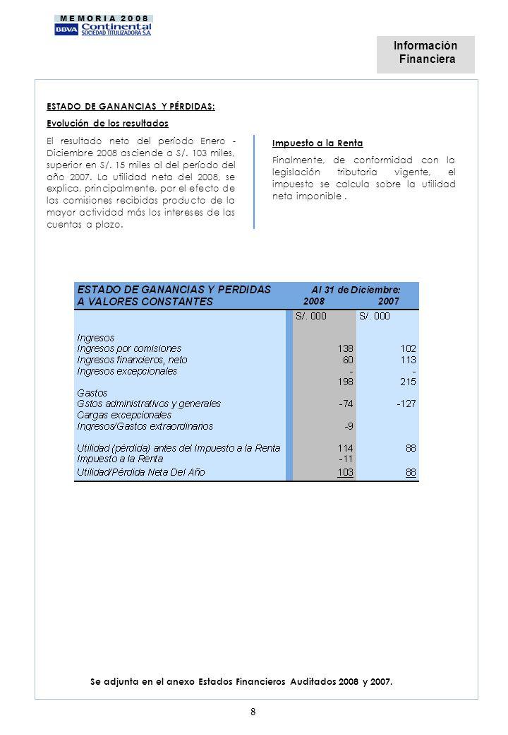 M E M O R I A 2 0 0 8 Se adjunta en el anexo Estados Financieros Auditados 2008 y 2007. 8 Impuesto a la Renta Finalmente, de conformidad con la legisl