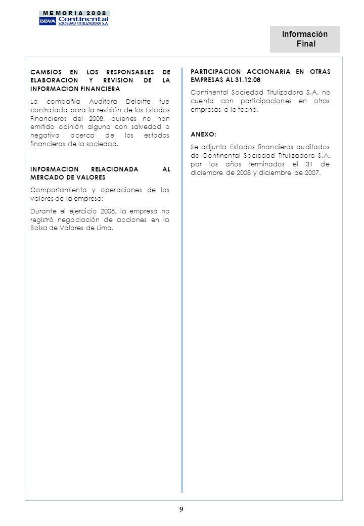 M E M O R I A 2 0 0 8 9 CAMBIOS EN LOS RESPONSABLES DE ELABORACION Y REVISION DE LA INFORMACION FINANCIERA La compañía Auditora Deloitte fue contratada para la revisión de los Estados Financieros del 2008, quienes no han emitido opinión alguna con salvedad o negativa acerca de los estados financieros de la sociedad.