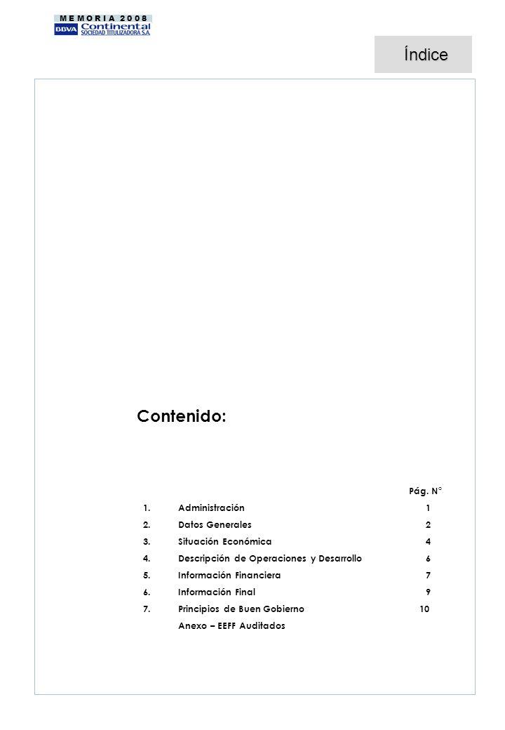 M E M O R I A 2 0 0 8 Contenido: Pág. N° 1. 1.Administración1 2. 2.Datos Generales 2 3. 3.Situación Económica 4 4. 4.Descripción de Operaciones y Desa