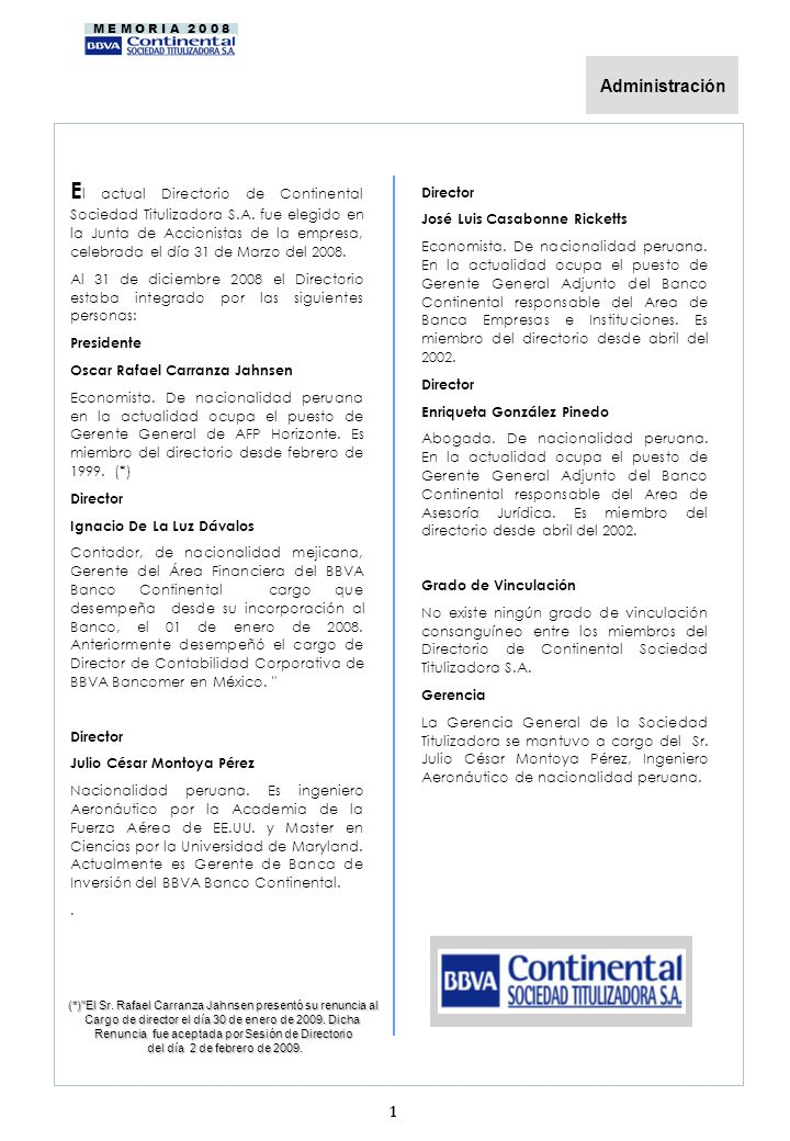 M E M O R I A 2 0 0 8 E l actual Directorio de Continental Sociedad Titulizadora S.A.