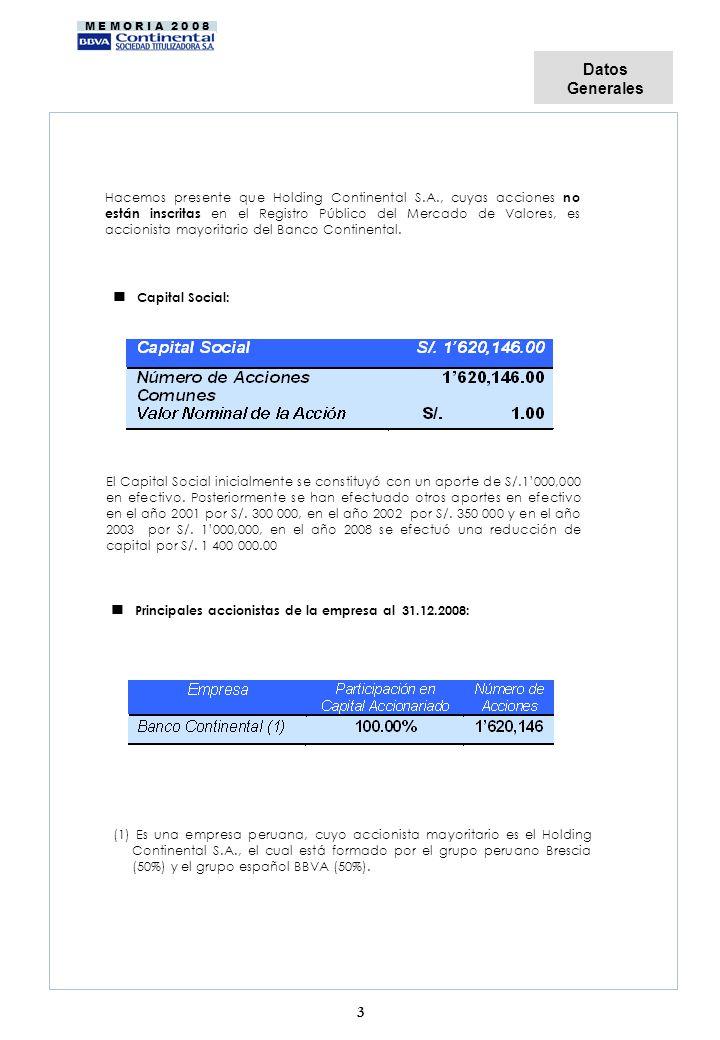 M E M O R I A 2 0 0 8 Hacemos presente que Holding Continental S.A., cuyas acciones no están inscritas en el Registro Público del Mercado de Valores,