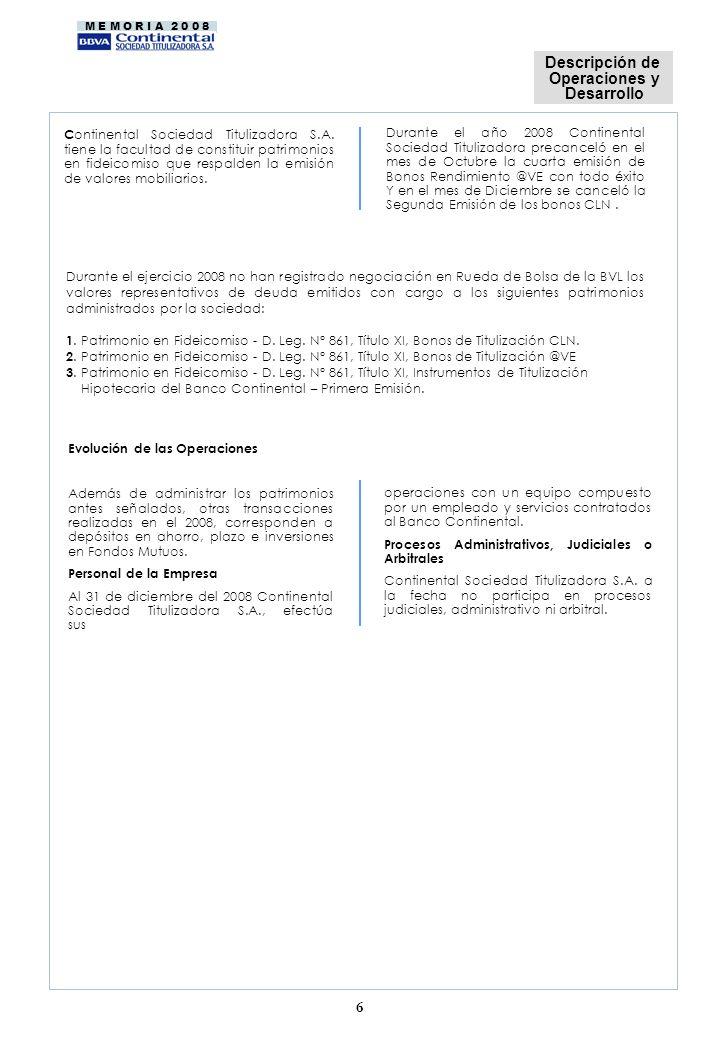 M E M O R I A 2 0 0 8 Durante el año 2008 Continental Sociedad Titulizadora precanceló en el mes de Octubre la cuarta emisión de Bonos Rendimiento @VE con todo éxito Y en el mes de Diciembre se canceló la Segunda Emisión de los bonos CLN.