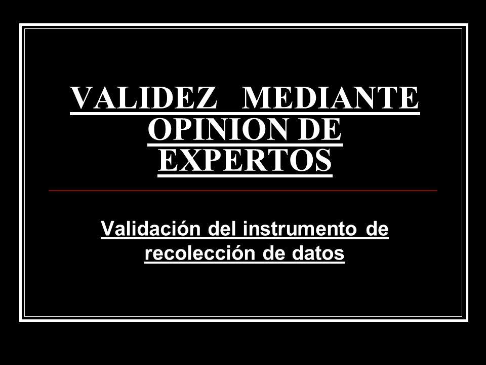 VALIDEZ MEDIANTE OPINION DE EXPERTOS Validación del instrumento de recolección de datos