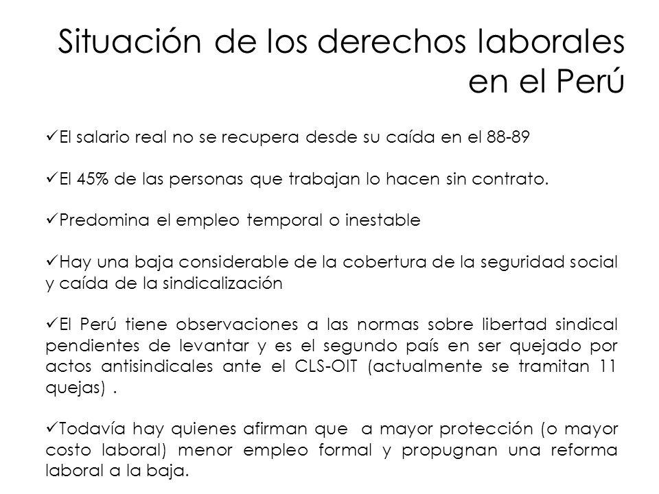 Situación de los derechos laborales en el Perú El salario real no se recupera desde su caída en el 88-89 El 45% de las personas que trabajan lo hacen sin contrato.