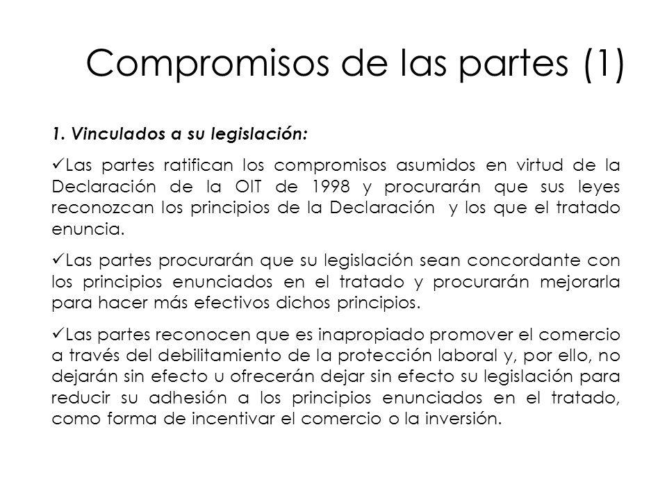 Compromisos de las partes (1) 1. Vinculados a su legislación: Las partes ratifican los compromisos asumidos en virtud de la Declaración de la OIT de 1
