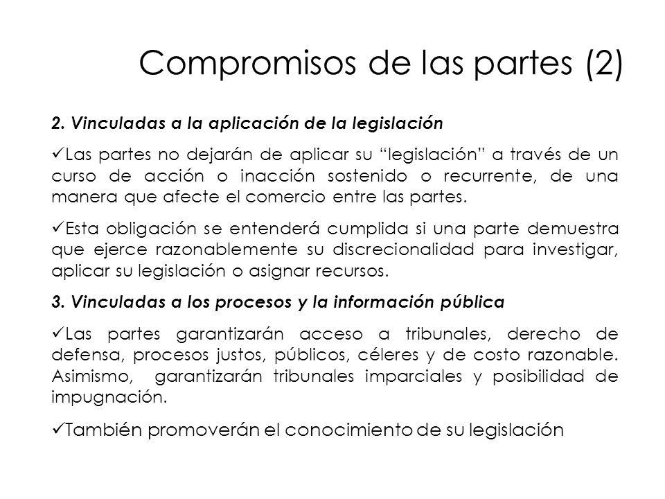 Compromisos de las partes (2) 2. Vinculadas a la aplicación de la legislación Las partes no dejarán de aplicar su legislación a través de un curso de