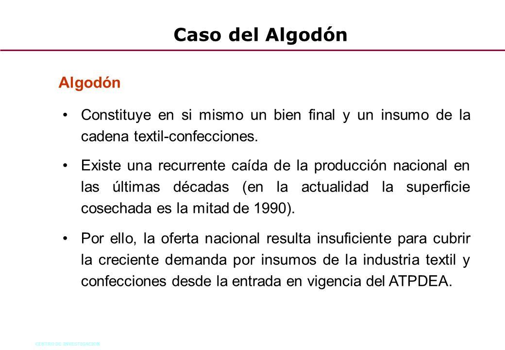 CENTRO DE INVESTIGACION 47 Caso del Algodón Algodón Constituye en si mismo un bien final y un insumo de la cadena textil-confecciones. Existe una recu