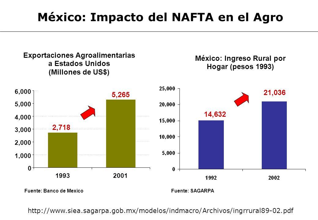 CENTRO DE INVESTIGACION 61 Fuente: Banco de Mexico México: Ingreso Rural por Hogar (pesos 1993) Exportaciones Agroalimentarias a Estados Unidos (Millo