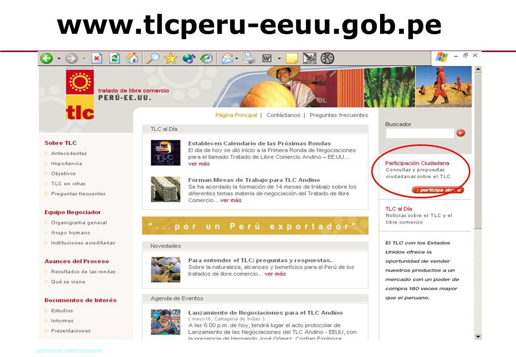 CENTRO DE INVESTIGACION 73 www.tlcperu-eeuu.gob.pe