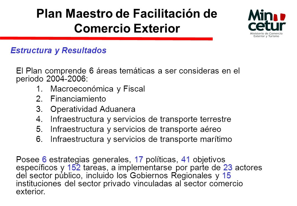 Estructura y Resultados El Plan comprende 6 áreas temáticas a ser consideras en el periodo 2004-2006: 1.Macroeconómica y Fiscal 2.Financiamiento 3.Operatividad Aduanera 4.Infraestructura y servicios de transporte terrestre 5.Infraestructura y servicios de transporte aéreo 6.Infraestructura y servicios de transporte marítimo 617 41 15223 15 Posee 6 estrategias generales, 17 políticas, 41 objetivos específicos y 152 tareas, a implementarse por parte de 23 actores del sector público, incluido los Gobiernos Regionales y 15 instituciones del sector privado vinculadas al sector comercio exterior.