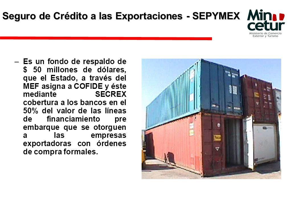 Seguro de Crédito a las Exportaciones - SEPYMEX –Es un fondo de respaldo de $ 50 millones de dólares, que el Estado, a través del MEF asigna a COFIDE y éste mediante SECREX cobertura a los bancos en el 50% del valor de las líneas de financiamiento pre embarque que se otorguen a las empresas exportadoras con órdenes de compra formales.
