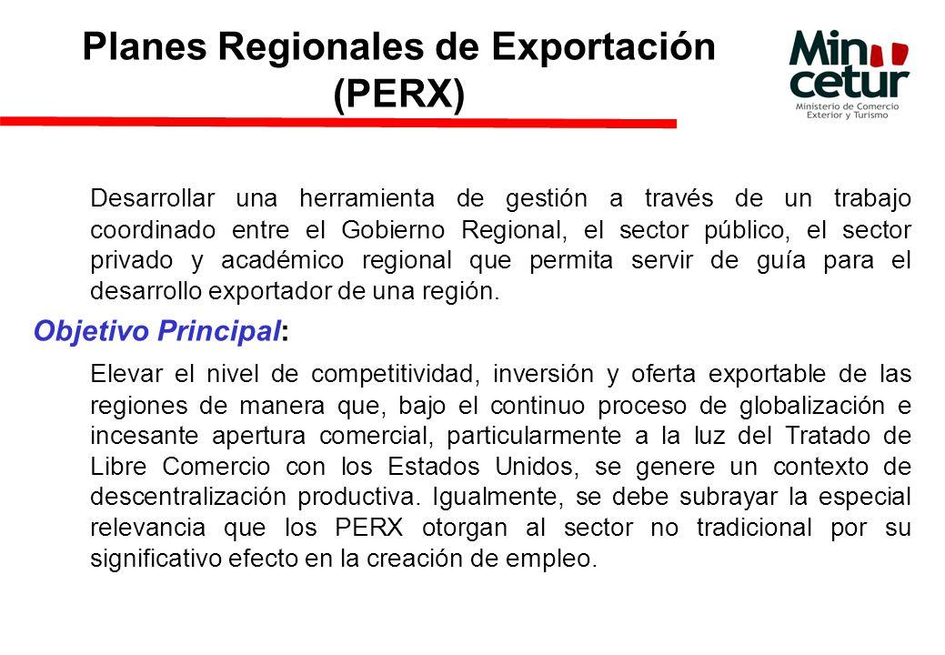 Planes Regionales de Exportación (PERX) Desarrollar una herramienta de gestión a través de un trabajo coordinado entre el Gobierno Regional, el sector público, el sector privado y académico regional que permita servir de guía para el desarrollo exportador de una región.