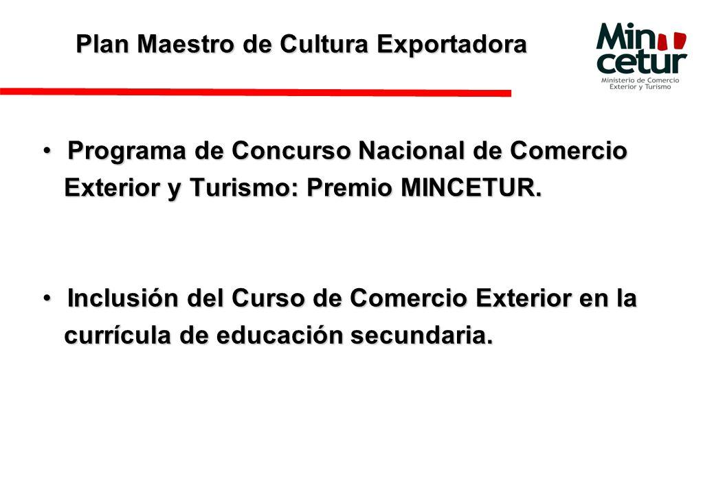 Plan Maestro de Cultura Exportadora Programa de Concurso Nacional de ComercioPrograma de Concurso Nacional de Comercio Exterior y Turismo: Premio MINCETUR.