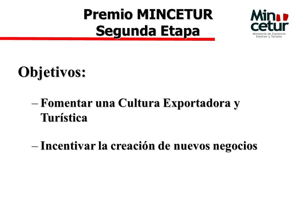 Objetivos: –Fomentar una Cultura Exportadora y Turística –Incentivar la creación de nuevos negocios Premio MINCETUR Segunda Etapa