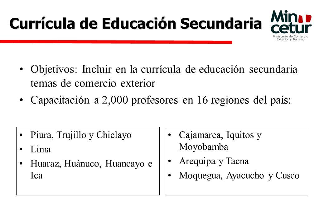 Currícula de Educación Secundaria Objetivos: Incluir en la currícula de educación secundaria temas de comercio exterior Capacitación a 2,000 profesores en 16 regiones del país: Piura, Trujillo y Chiclayo Lima Huaraz, Huánuco, Huancayo e Ica Cajamarca, Iquitos y Moyobamba Arequipa y Tacna Moquegua, Ayacucho y Cusco