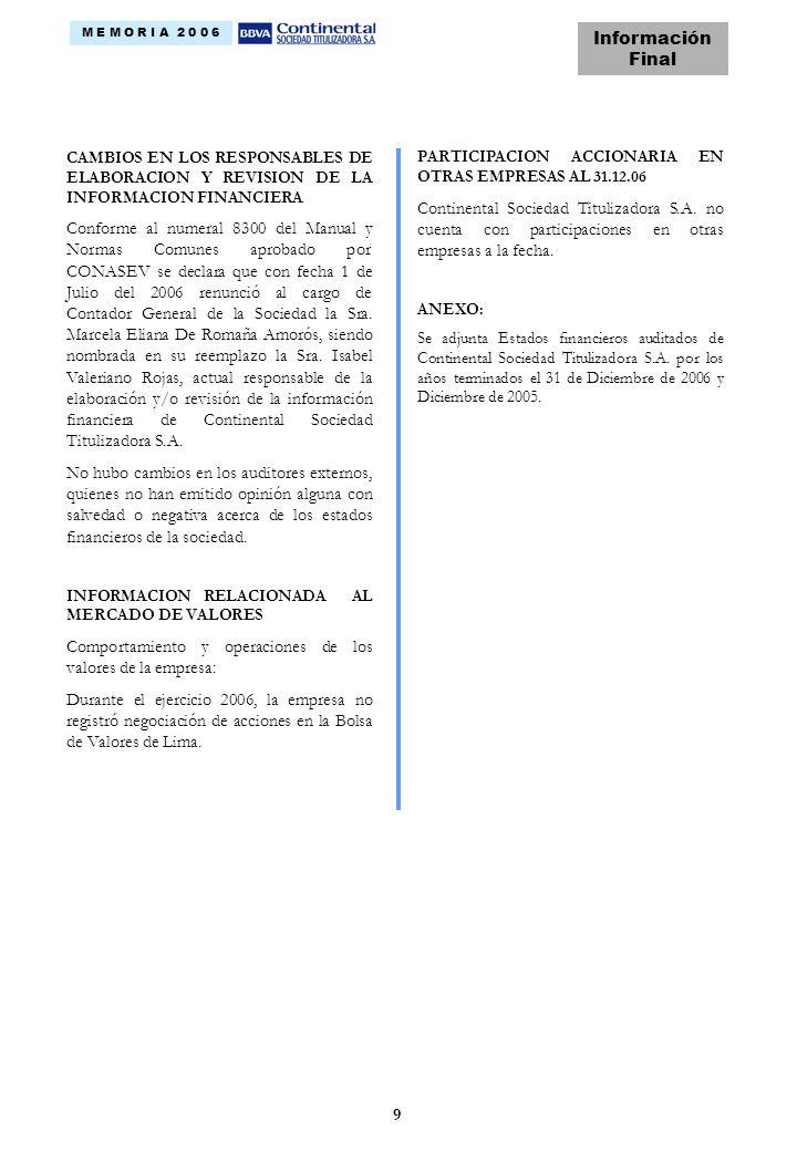 9 CAMBIOS EN LOS RESPONSABLES DE ELABORACION Y REVISION DE LA INFORMACION FINANCIERA Conforme al numeral 8300 del Manual y Normas Comunes aprobado por CONASEV se declara que con fecha 1 de Julio del 2006 renunció al cargo de Contador General de la Sociedad la Sra.