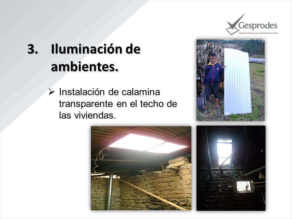 3.Iluminación de ambientes. Instalación de calamina transparente en el techo de las viviendas.