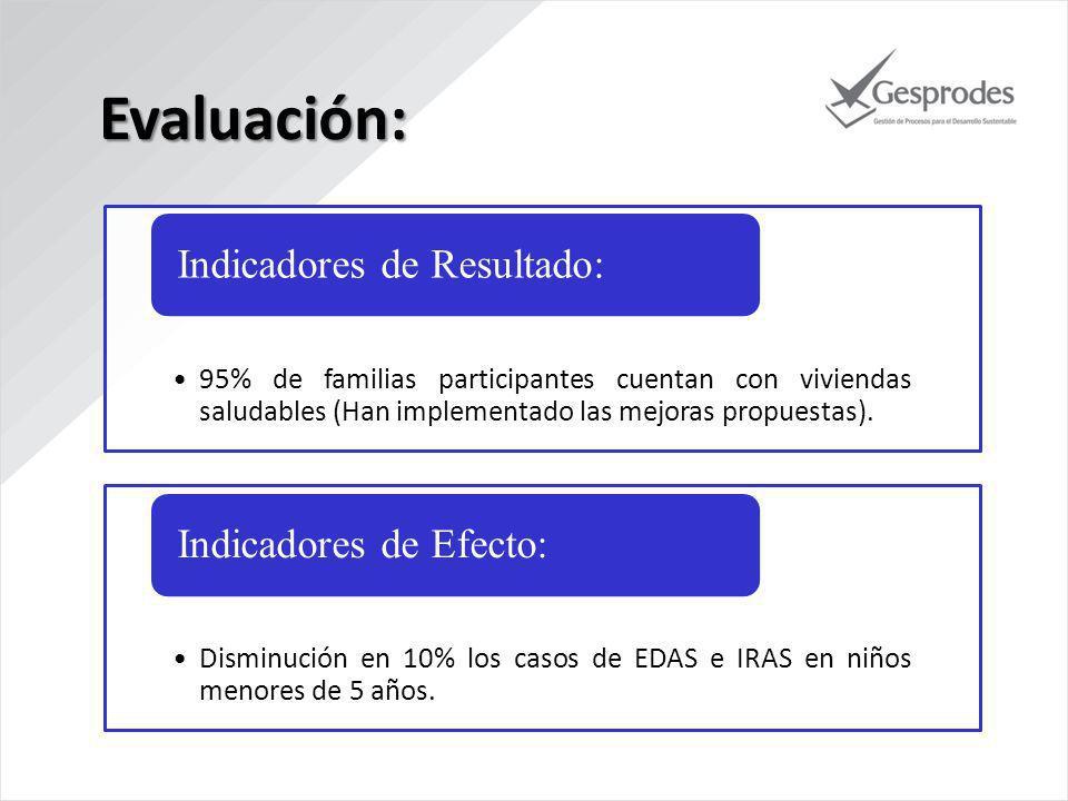 95% de familias participantes cuentan con viviendas saludables (Han implementado las mejoras propuestas).