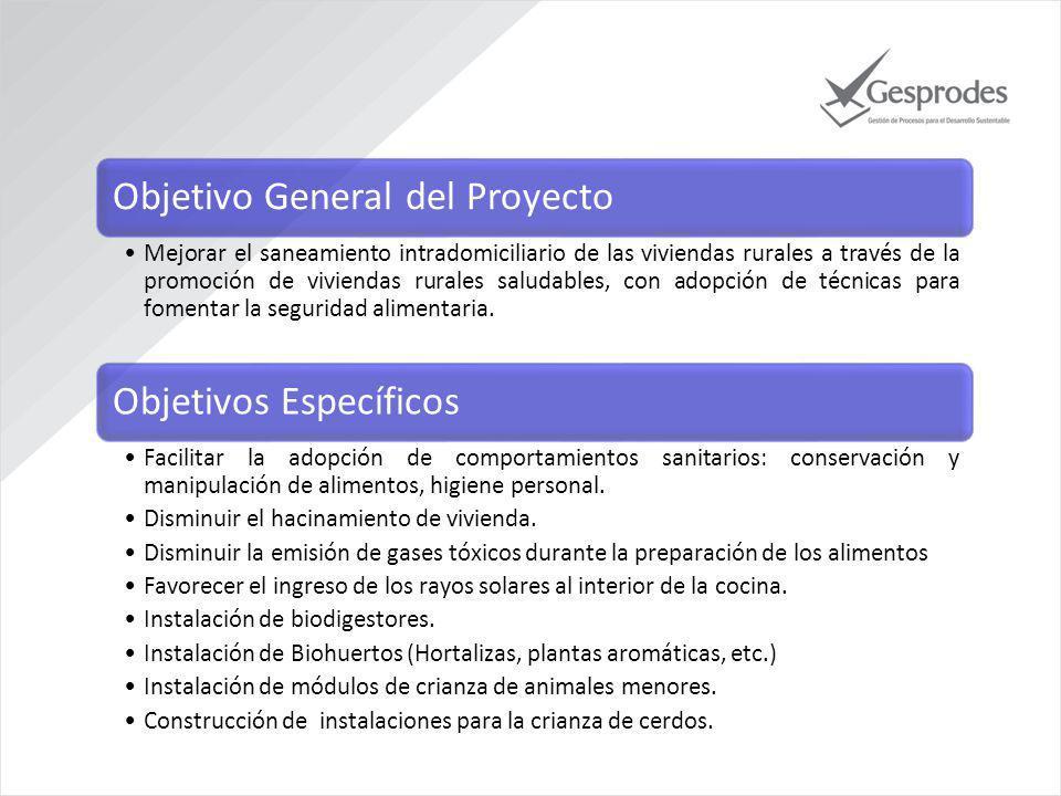 Objetivo General del Proyecto Mejorar el saneamiento intradomiciliario de las viviendas rurales a través de la promoción de viviendas rurales saludables, con adopción de técnicas para fomentar la seguridad alimentaria.