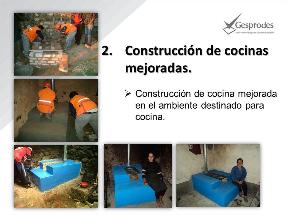 2.Construcción de cocinas mejoradas. Capacitación para el uso y mantenimiento de la cocina.