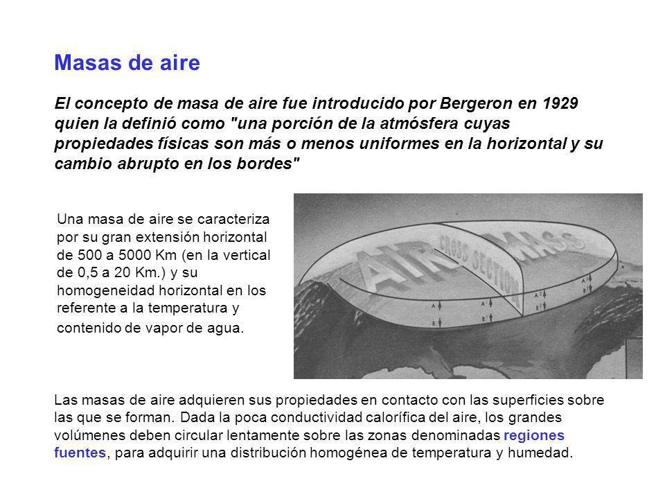 Masas de aire El concepto de masa de aire fue introducido por Bergeron en 1929 quien la definió como