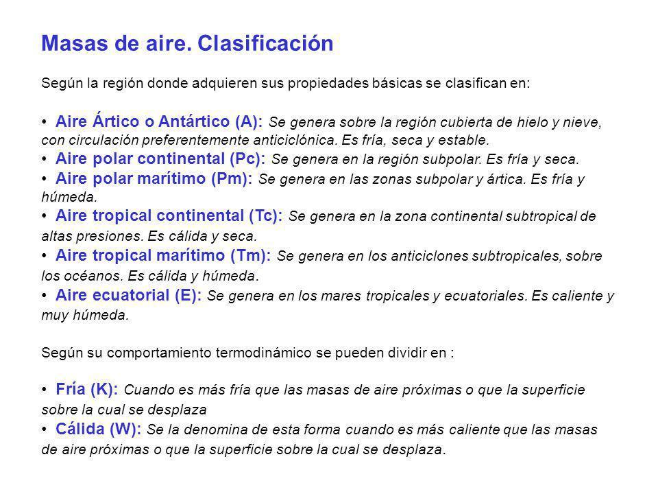 Masas de aire. Clasificación Según la región donde adquieren sus propiedades básicas se clasifican en: Aire Ártico o Antártico (A): Se genera sobre la