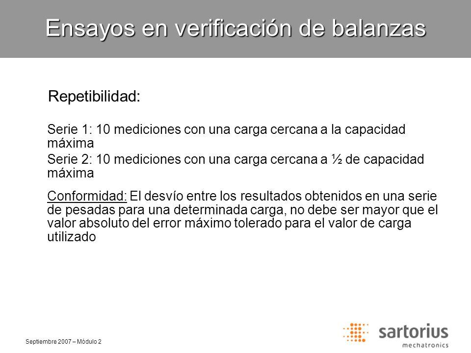 Septiembre 2007 – Módulo 2 Repetibilidad: Ensayos en verificación de balanzas