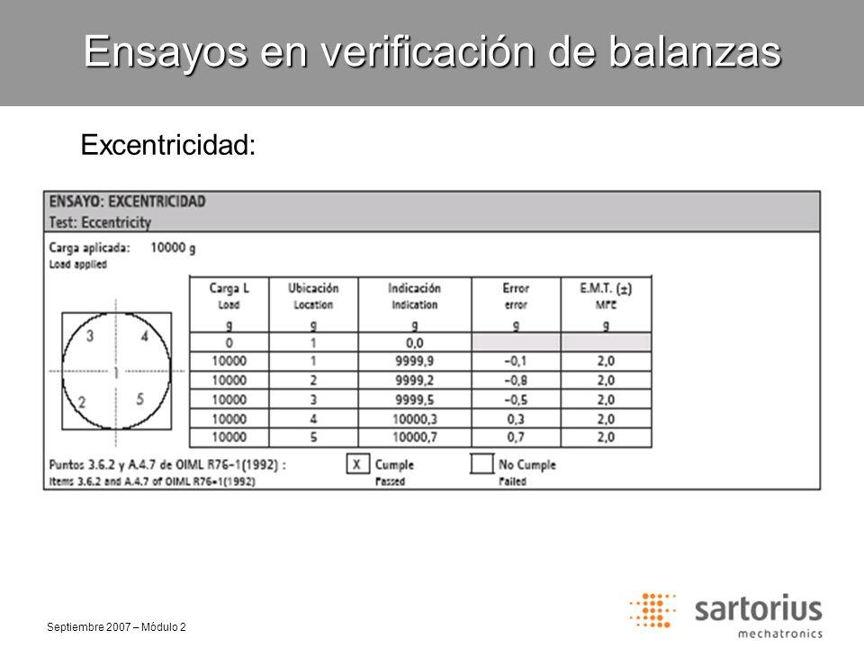 Septiembre 2007 – Módulo 2 Linealidad/Histéresis: Conformidad: Los errores en cada valor de carga deben ser menor o igual al valor absoluto del error máximo tolerado (EMT) para el valor de carga utilizado.