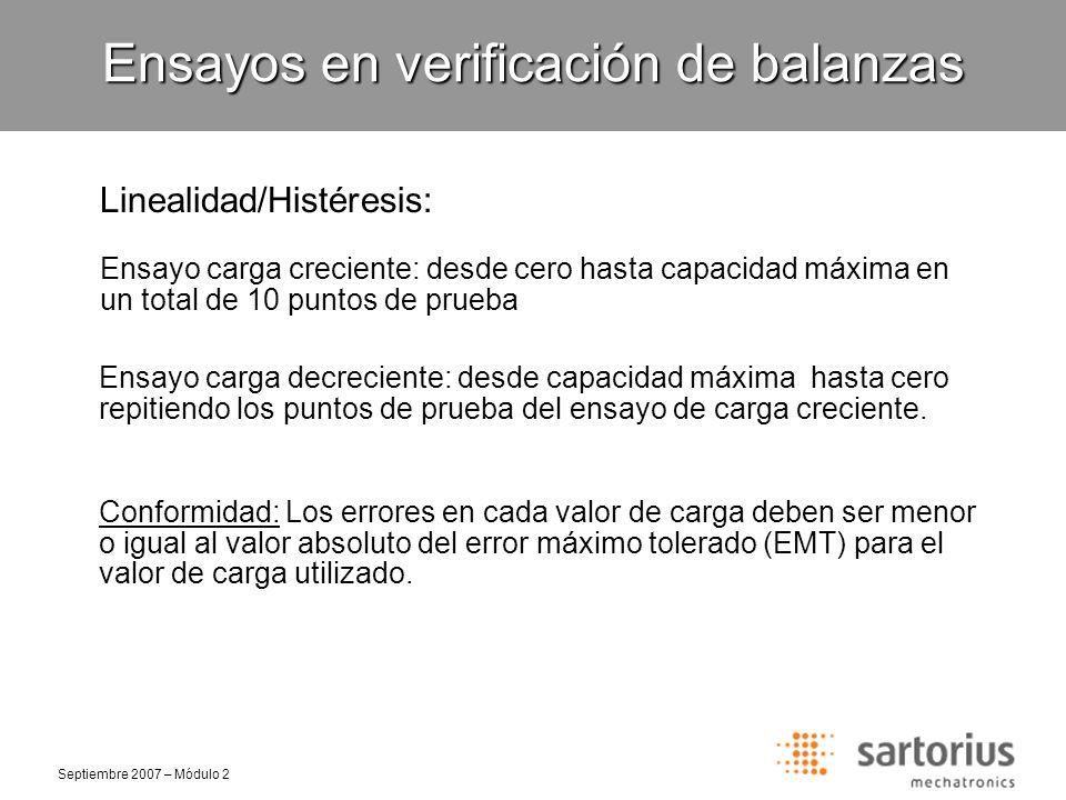 Septiembre 2007 – Módulo 2 Linealidad/Histéresis: Ensayos en verificación de balanzas