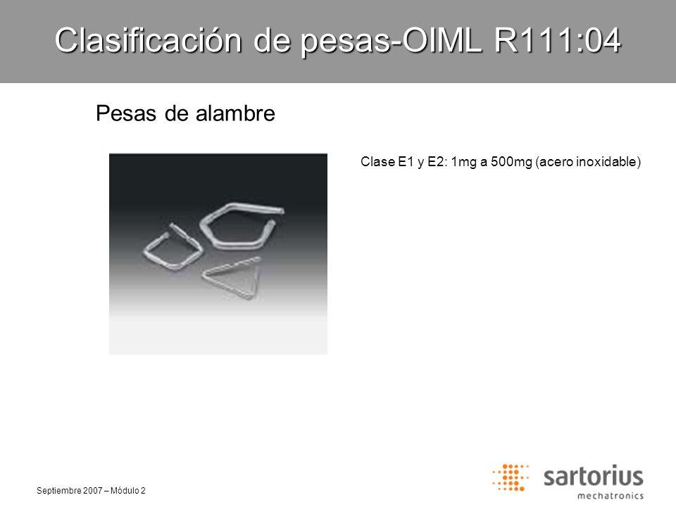 Septiembre 2007 – Módulo 2 Clasificación de pesas-OIML R111:04 Pesas formato hoja Clase F1, F2 y M1: 1mg a 5mg (aluminio) 10mg a 500mg (níquel plata)