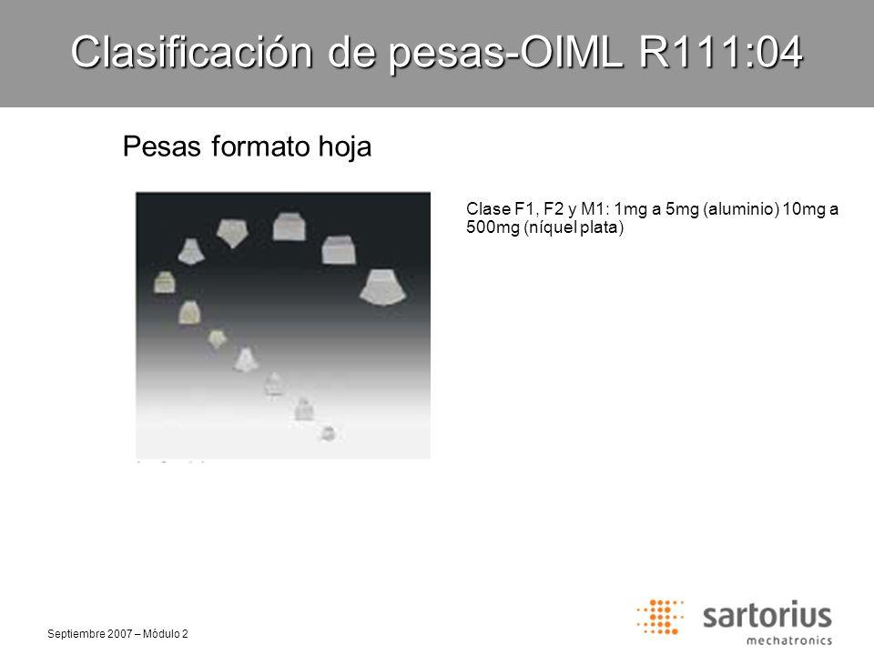 Septiembre 2007 – Módulo 2 Clasificación de pesas-OIML R111:04 Pesas formato internacional Clase E1, E2, F1 y F2: 1g a 50kg (acero inoxidable) Clase M1 y M2: 1g a 10kg (Bronce galvanizado)