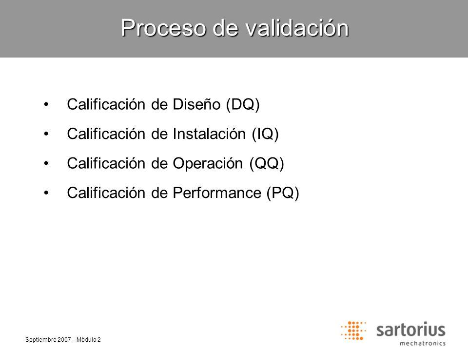Septiembre 2007 – Módulo 2 Selección de clase de pesa Proceso de validación