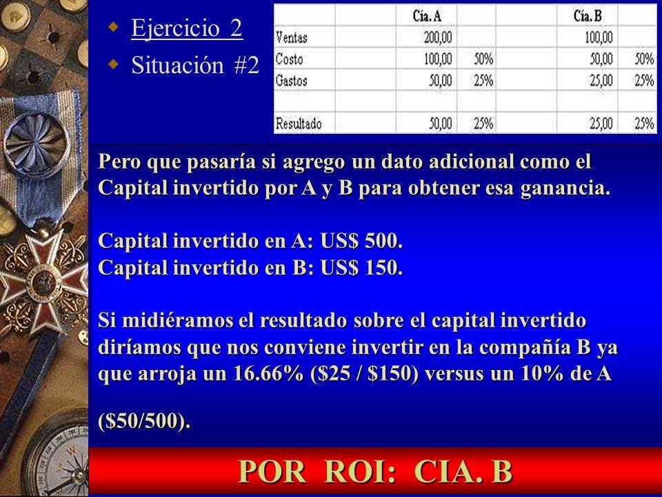 Ejercicio 2 Situación #2 Pero que pasaría si agrego un dato adicional como el Capital invertido por A y B para obtener esa ganancia. Capital invertido