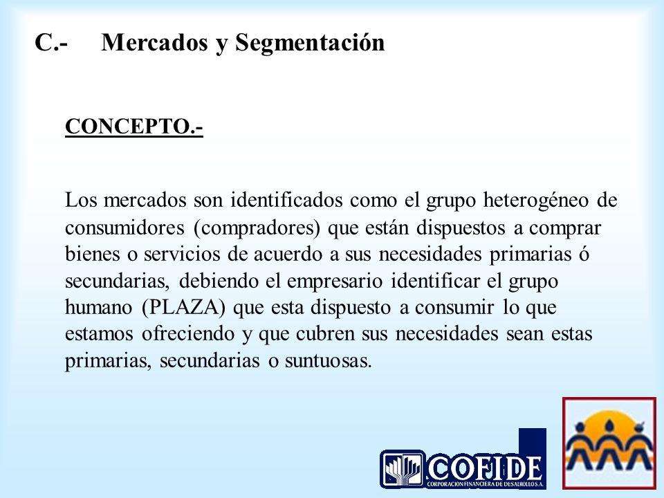 CONCEPTO.- Los mercados son identificados como el grupo heterogéneo de consumidores (compradores) que están dispuestos a comprar bienes o servicios de