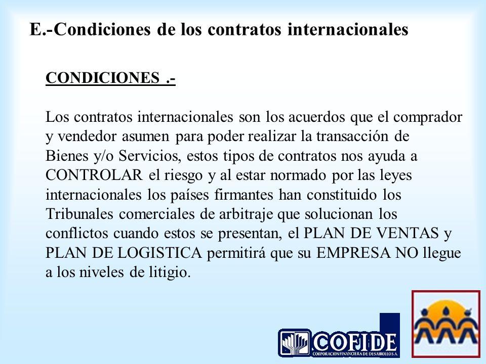 CONDICIONES.- Los contratos internacionales son los acuerdos que el comprador y vendedor asumen para poder realizar la transacción de Bienes y/o Servi