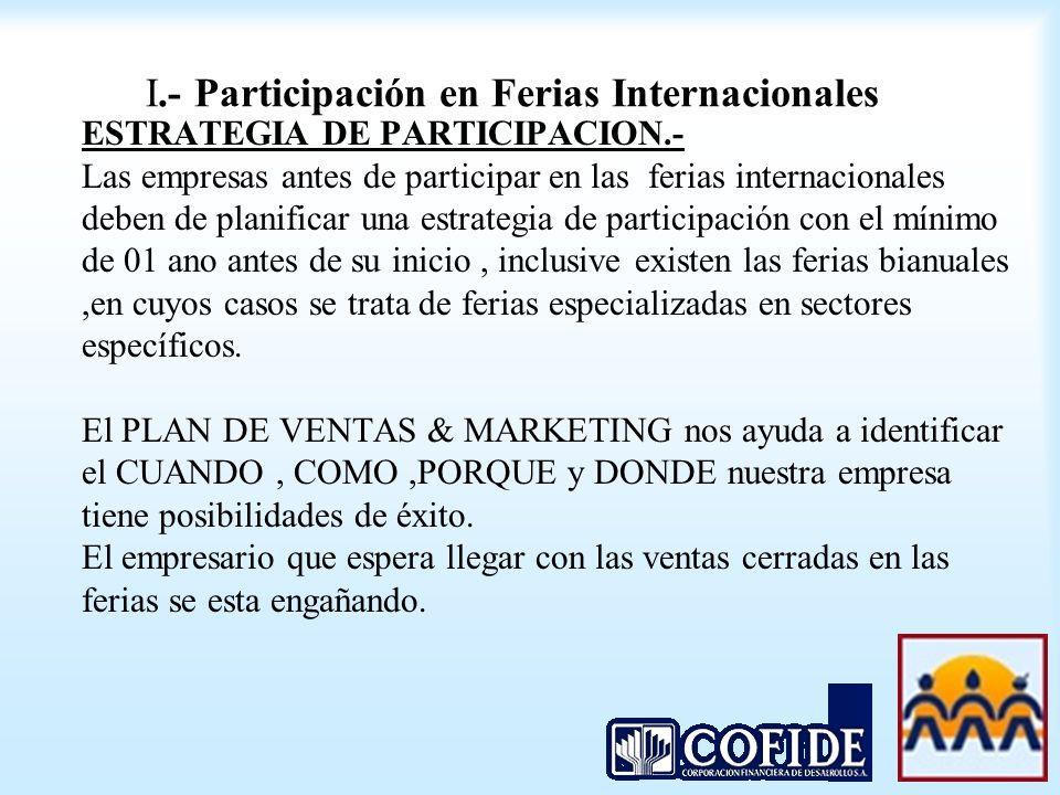 I.- Participación en Ferias Internacionales ESTRATEGIA DE PARTICIPACION.- Las empresas antes de participar en las ferias internacionales deben de plan