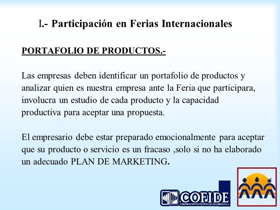 I.- Participación en Ferias Internacionales PORTAFOLIO DE PRODUCTOS.- Las empresas deben identificar un portafolio de productos y analizar quien es nu