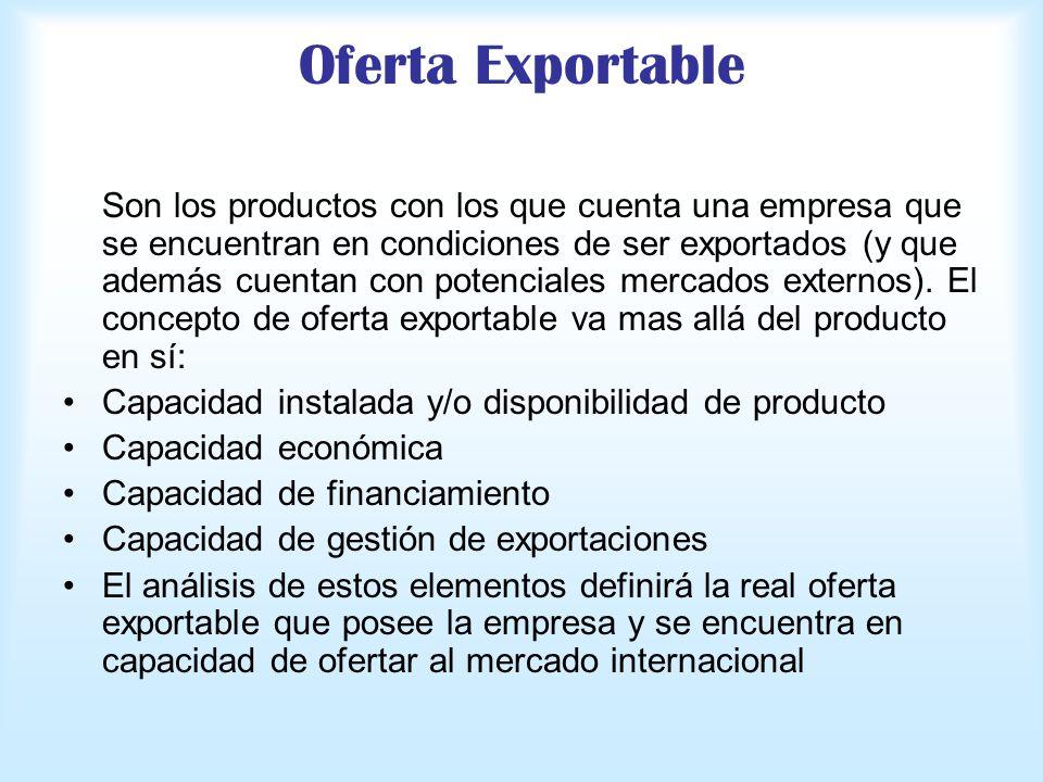 Oferta Exportable Son los productos con los que cuenta una empresa que se encuentran en condiciones de ser exportados (y que además cuentan con potenc