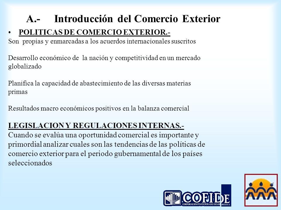 POLITICAS DE COMERCIO EXTERIOR.- Son propias y enmarcadas a los acuerdos internacionales suscritos Desarrollo económico de la nación y competitividad