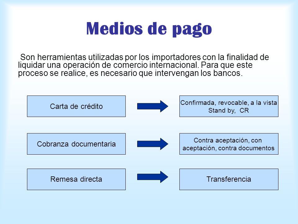 Medios de pago Son herramientas utilizadas por los importadores con la finalidad de liquidar una operación de comercio internacional. Para que este pr