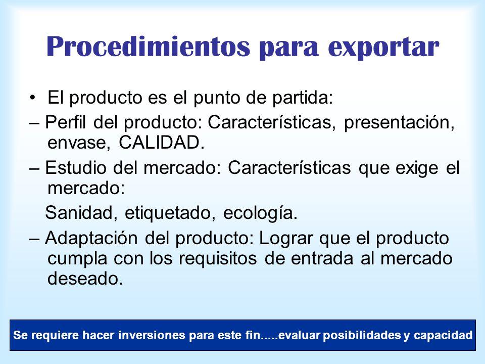 Procedimientos para exportar El producto es el punto de partida: – Perfil del producto: Características, presentación, envase, CALIDAD. – Estudio del