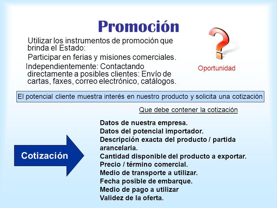 Promoción Utilizar los instrumentos de promoción que brinda el Estado: Participar en ferias y misiones comerciales. Independientemente: Contactando di